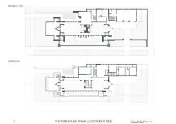 Robie House, Wright, plans, planos, plantas, well drawn
