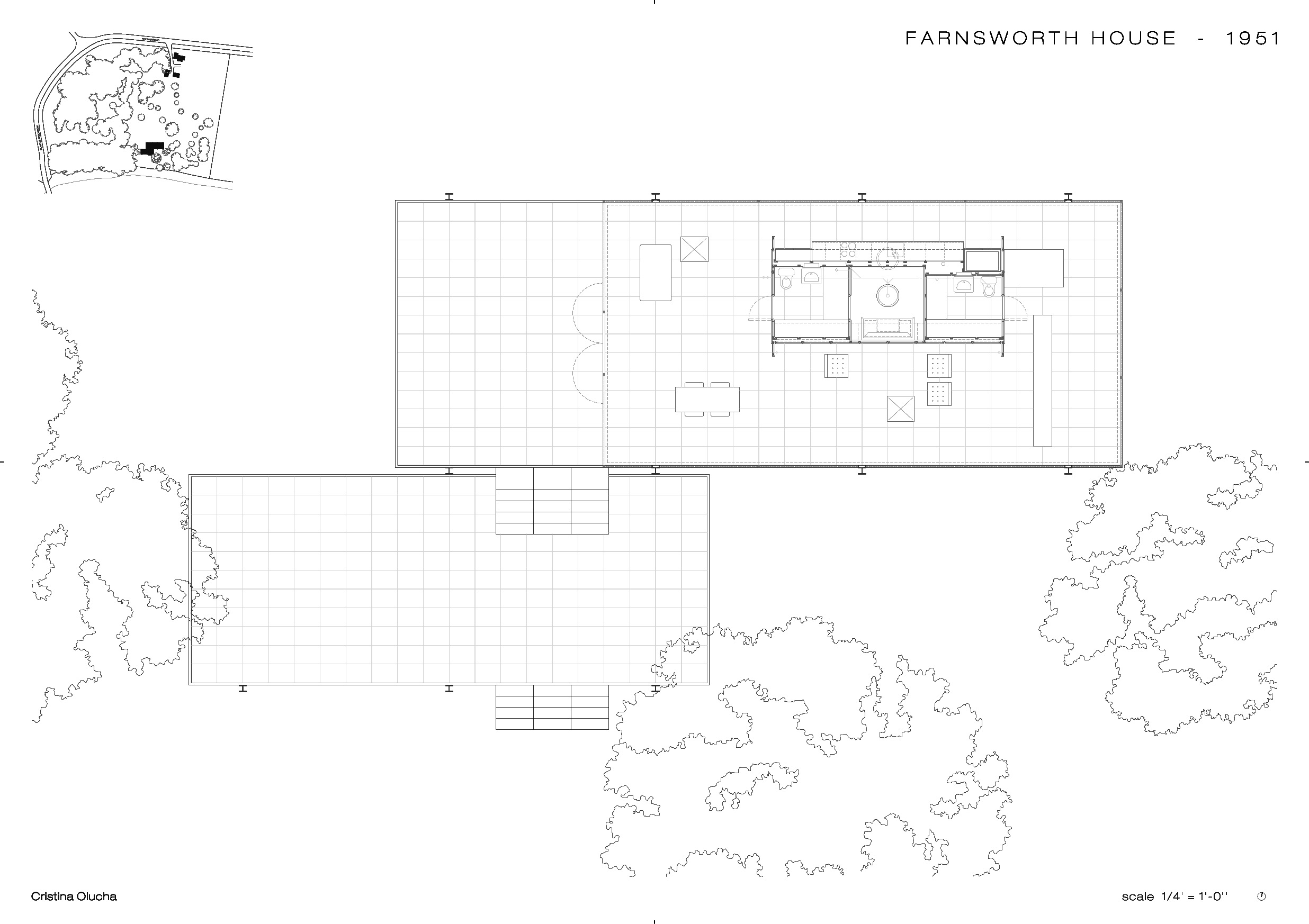 Mies van der rohe farnsworth house floor plan for Site plan dimensions