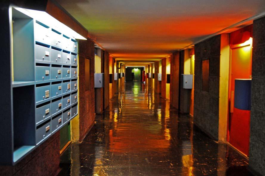 nite Habitation Marseille, Le Corbusier, human scale, modern architecture, corridor