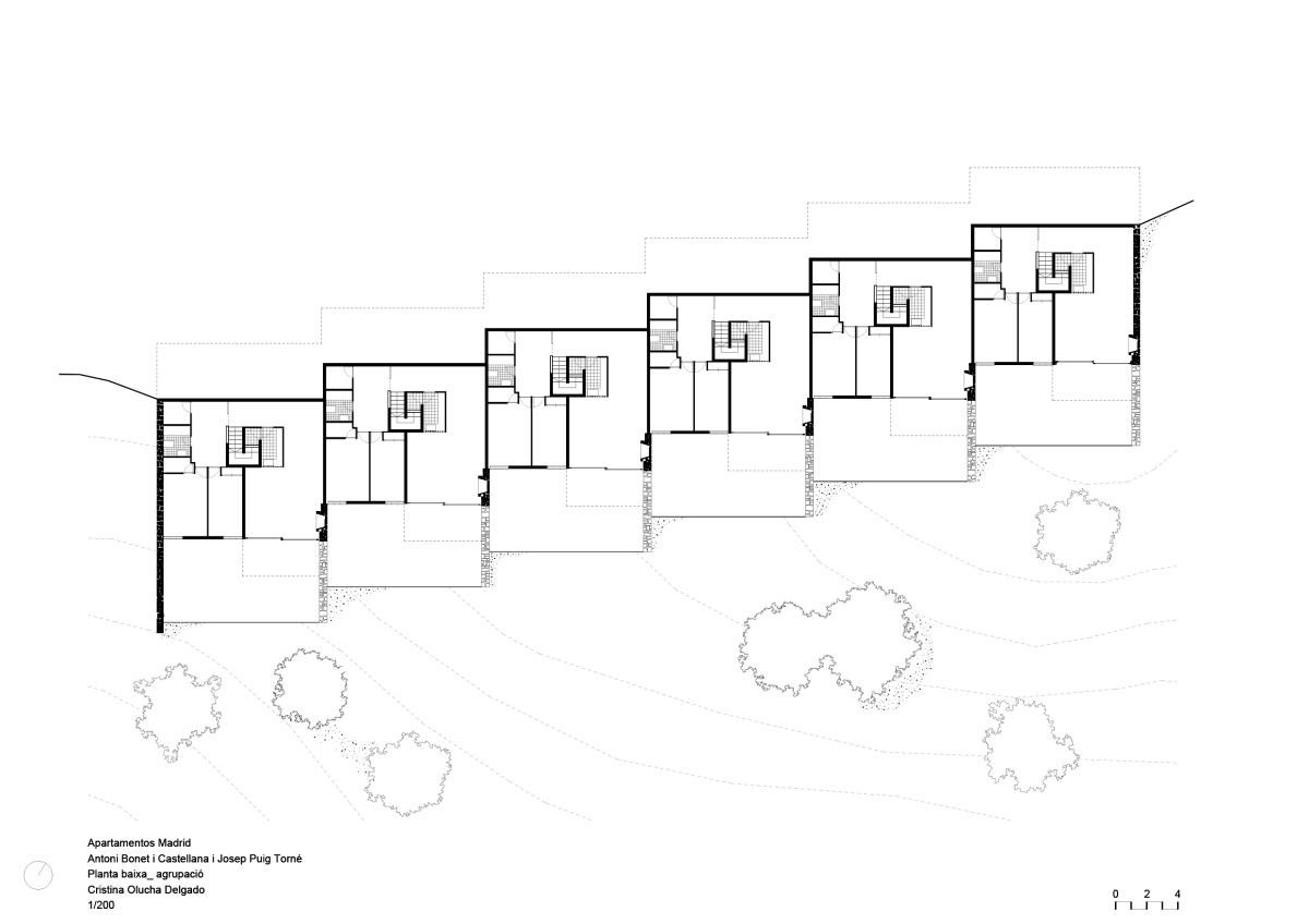 Apartamentos Madrid, Bonet, olucha, drawing, architecture, modern, planta arquitectura