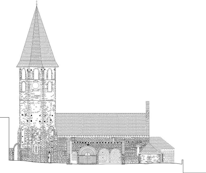 Salardu, church, vall d'aran, drawing, stones, well drawn, beautiful, precision, alzado bonito