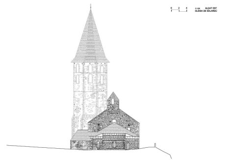 Salardu, church, vall d'aran, drawing, stones, well drawn, beautiful, precision, alzado bonito