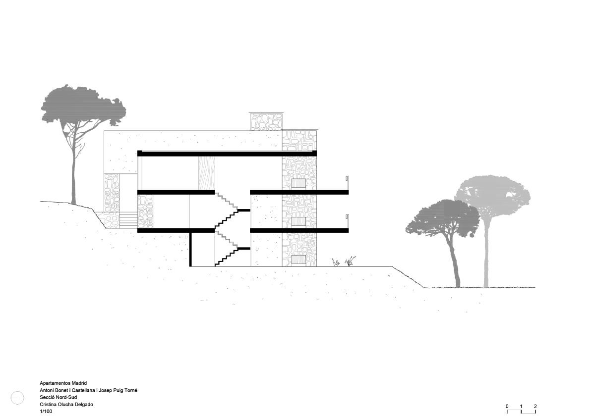 Apartamentos Madrid, Bonet, olucha, drawing, architecture, modern, seccion arquitectura