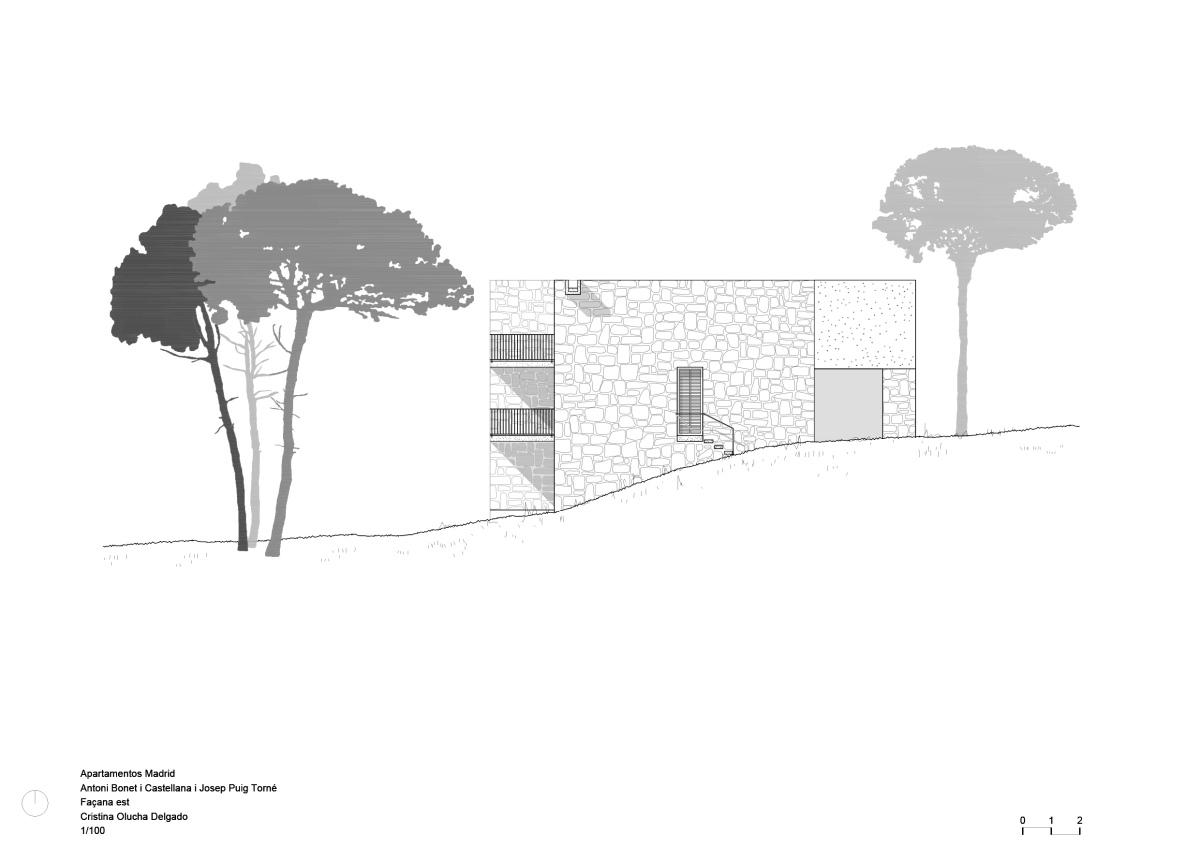 Apartamentos Madrid, Bonet, olucha, drawing, architecture, modern, arquitectura, façana, fachada