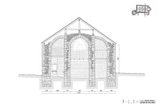 Salardu, church, vall d'aran, drawing, stones, well drawn, beautiful, precision, section