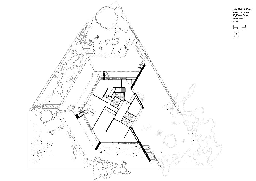 Nieto Antúnez house, Salou, drawing, casa, plano, planta, floorplan, modern architecture